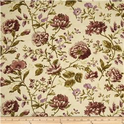 Moda Plum Sweet Peas & Peonies Antique Cream