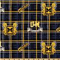 Collegiate Cotton Broadcloth University of Michigan Plaid Blue