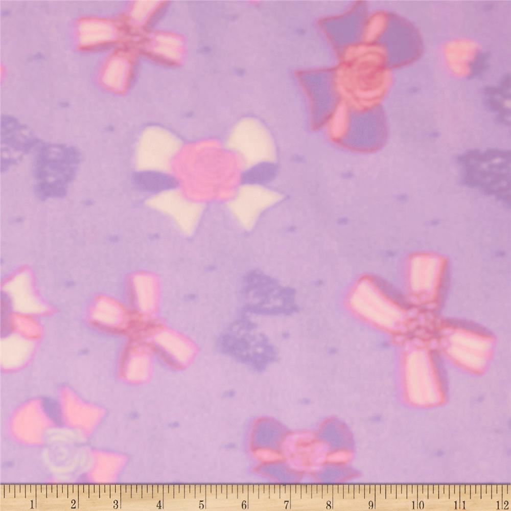 Printed Fleece Bow Floral Pink