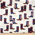 Kaufman Red, White and Blue Boots Ivory