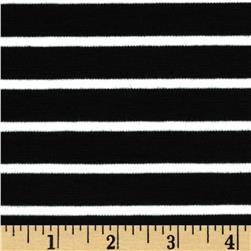 Stretch Double Knit Stripes Black/White