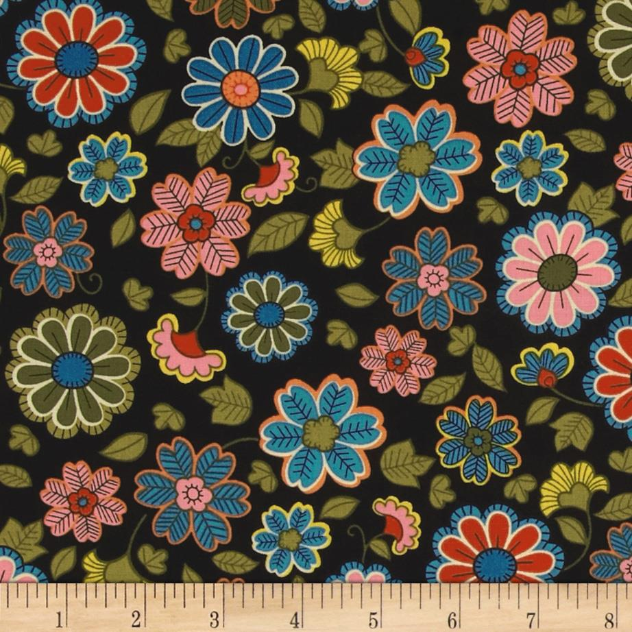 Tossed Patterned Flowers Black