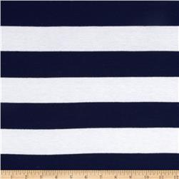 Designer Stretch Yarn Dyed Jersey Knit Thick Stripes White/Navy