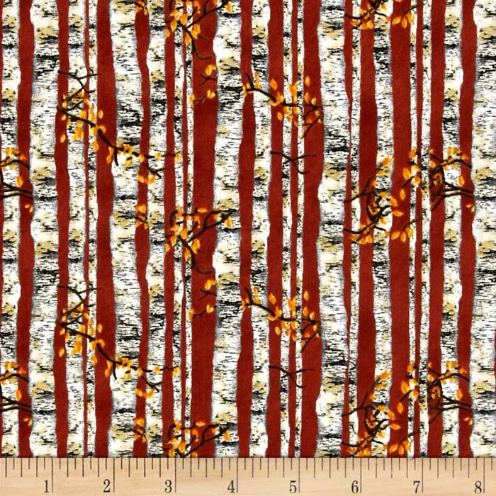 Nature's Glory Birch Tree Stripe Brick Red