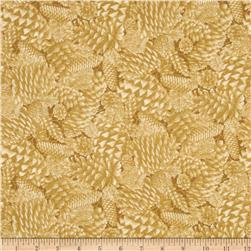 Thimbleberries Tone on Tone Packed Pine Cones Gold