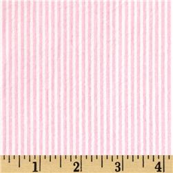 Cotton Seersucker Stripe Pink/White Fabric