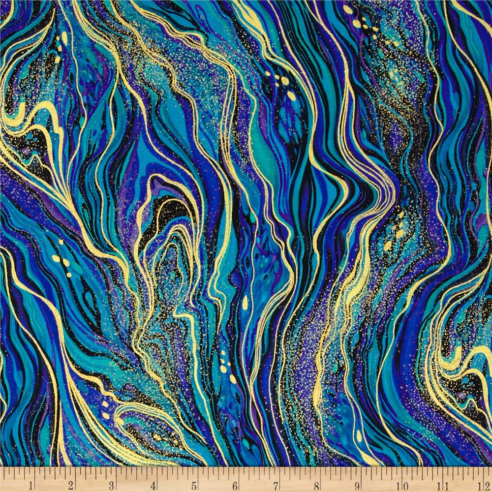Timeless Treasures Palazzo Metallic Abstract Marbling Peacock