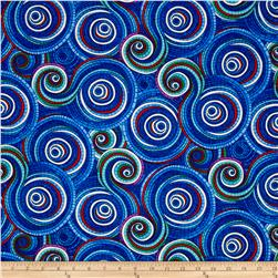 Timeless Treasures Mosaic Garden Swirl Blue