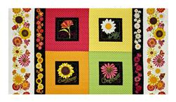 "Breezy Blooms Garden Patch 23.5"" Panel Black/Multi"
