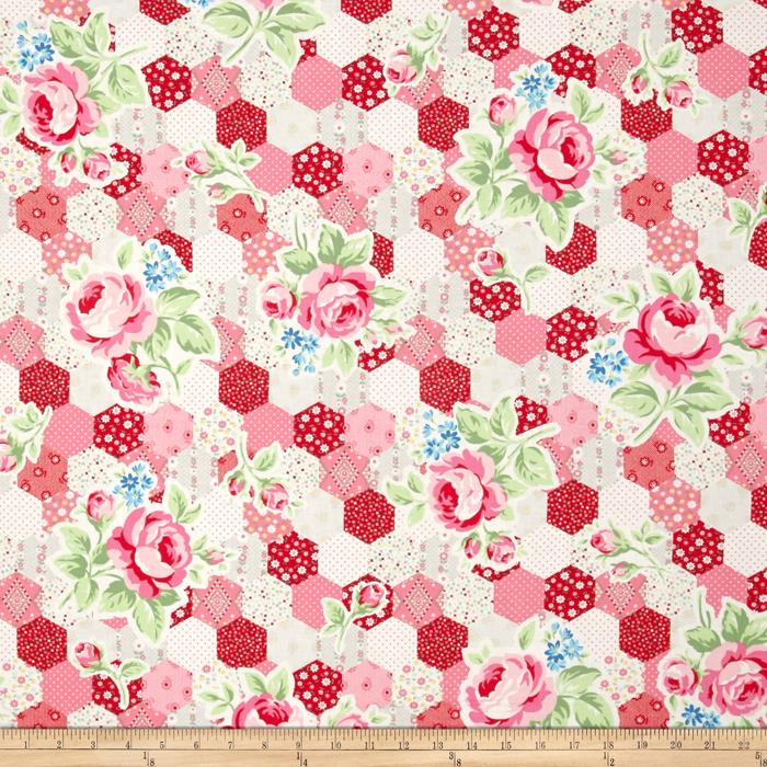 Lecien Flower Sugar Hexie Floral Red