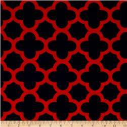 Stretch ITY Knit Quatrefoil Print Navy/Red