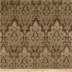 Morgan Damask Jacquard Upholstery Brown/Blue