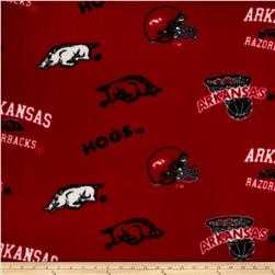 Collegiate Fleece University of Arkansas Red/Black Fabric