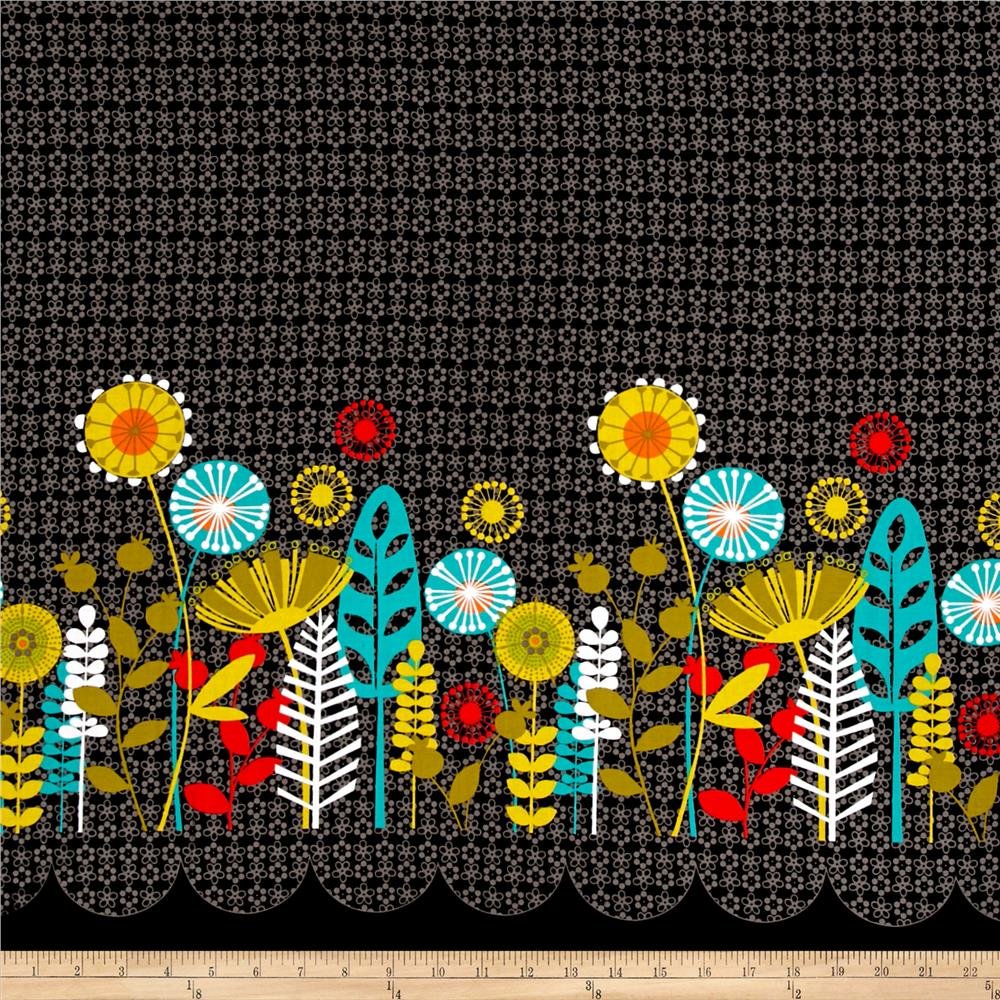 Michael Miller Flowers A Plenty Posey Border Coin Fabric