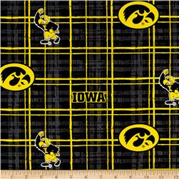 Collegiate Cotton Broadcloth University of Iowa Plaid Black