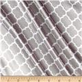 Silky Satin Charmeuse Lattice Silver/Snow