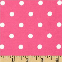 Cozy Cotton Flannel Dots Hot Pink Fabric