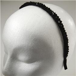 3/8'' Faceted Floral Beaded Headband Black
