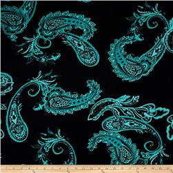Stretch ITY Knit Paisley Black Teal