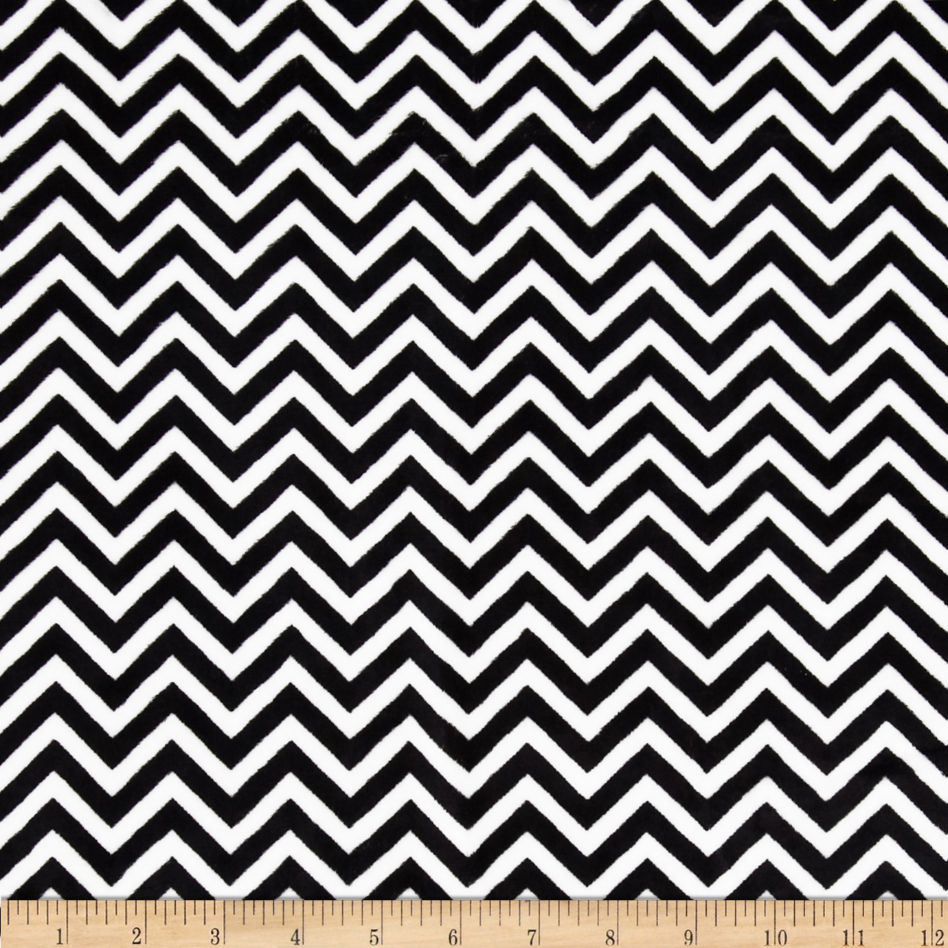 Minky Cuddle Mini Chevron Black/Snow Fabric