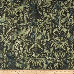 Contempo Hand Made Faux Linen Damask Dark Turquoise