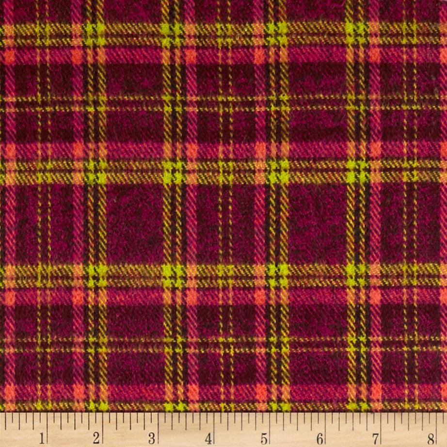 6 oz. Flannel Plaid Coral/Wine/Lime