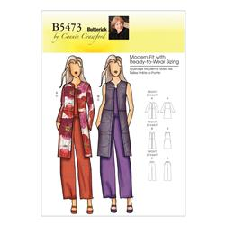 Butterick Misses'/Women's Jacket Vest and Pants Pattern B5473