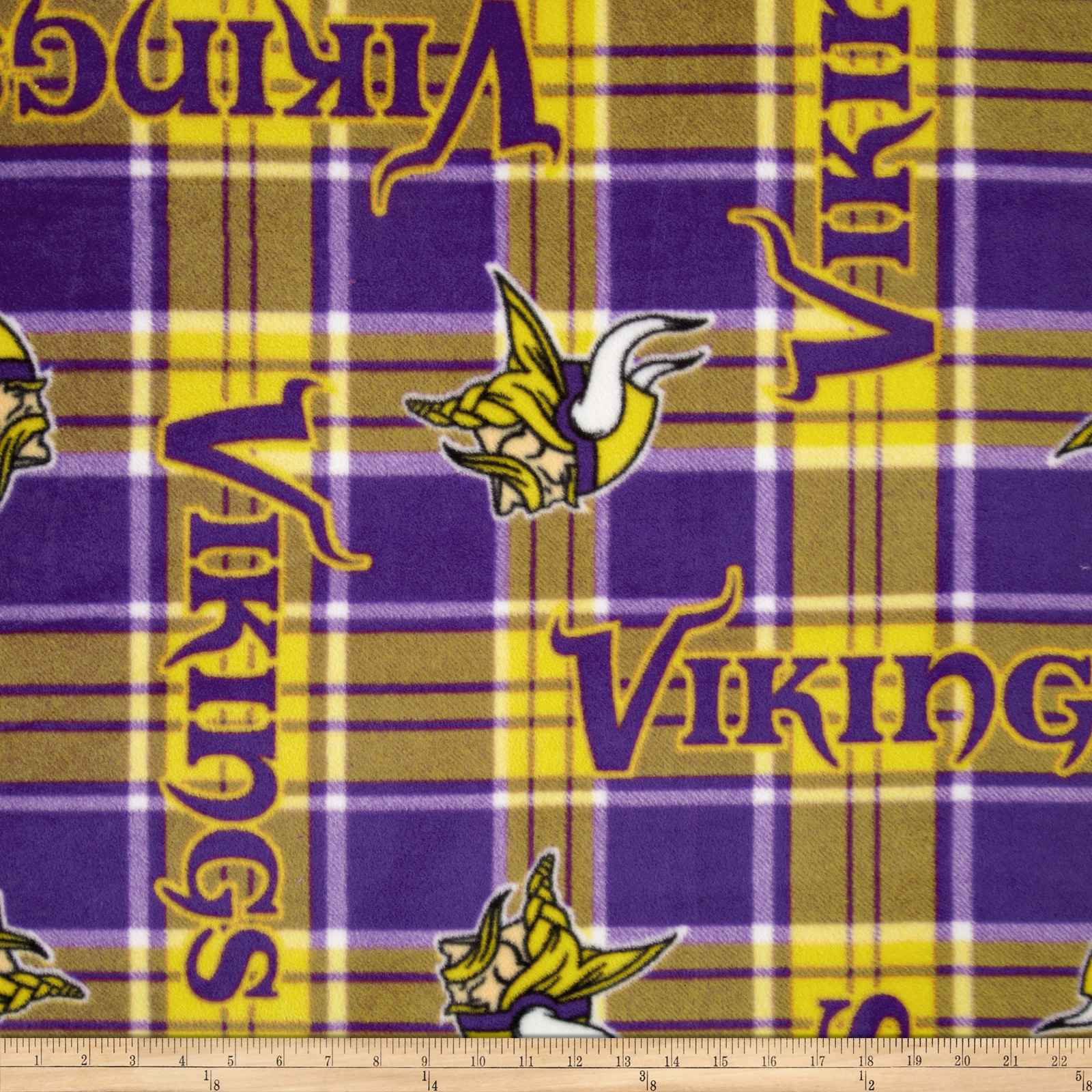 NFL Fleece Minnesota Vikings Plaid Purple/Yellow Fabric