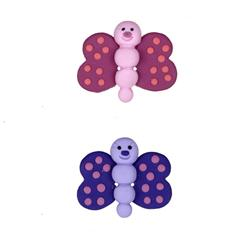 Novelty Button 1'' PR Butterflies Pink/Purple