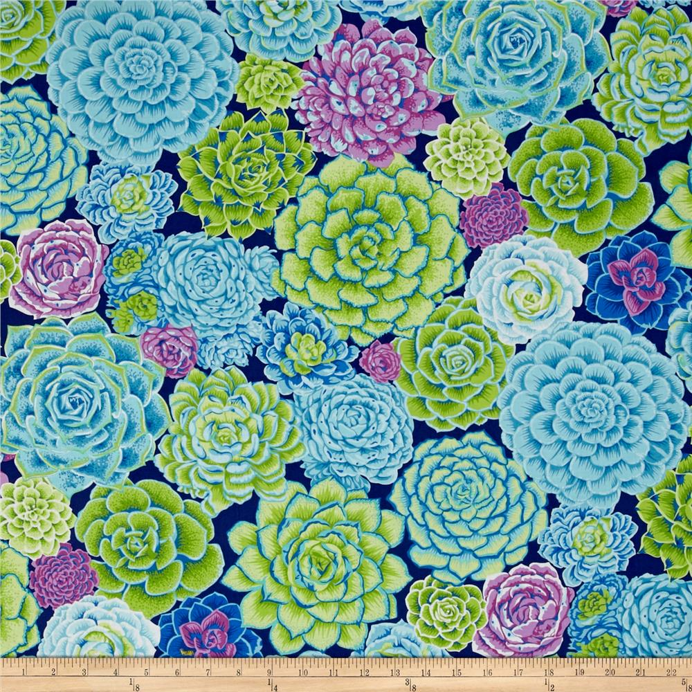 Natural world succlents lagoon discount designer fabric for Fabric world