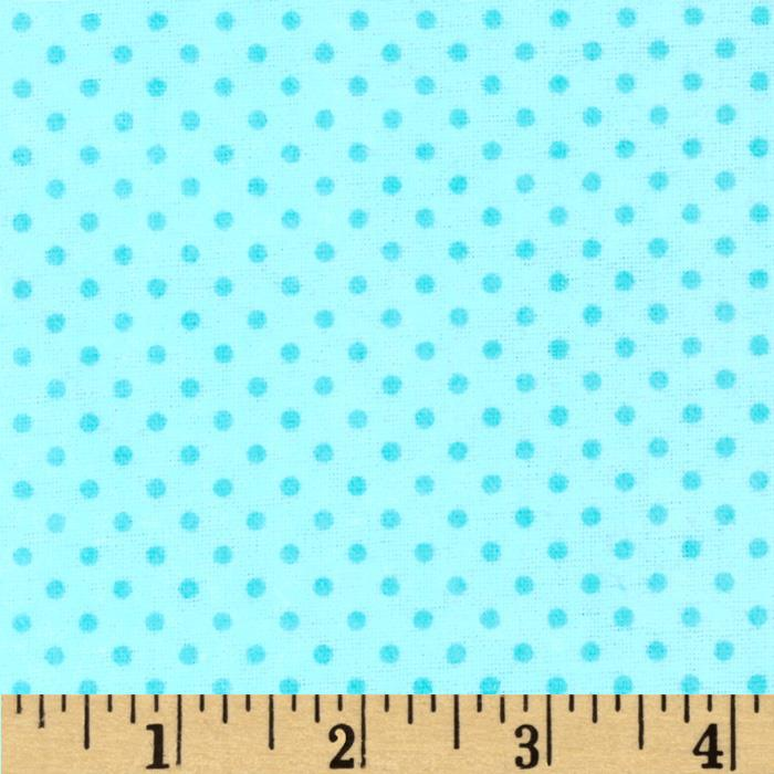 Flannel Dots Turquoise Fabric By The Yard