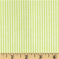 Cotton Seersucker Stripe Lime/White