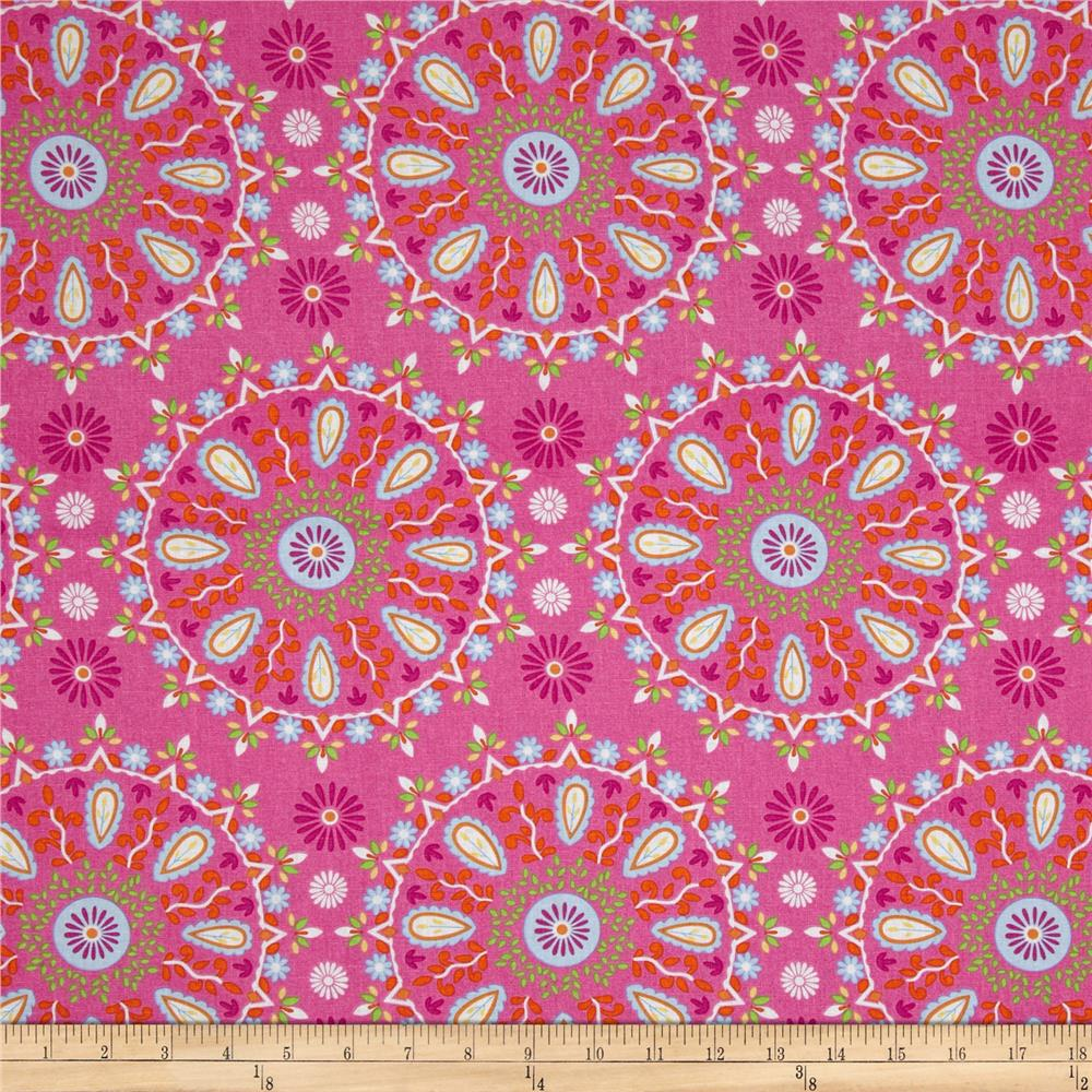 Dena Designs Home D?cor Linen Blend Sunshine Circle Medallion Pink
