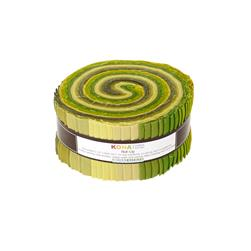 "Robert Kaufman Kona Solids Grasslands 2.5"" Jelly Roll"