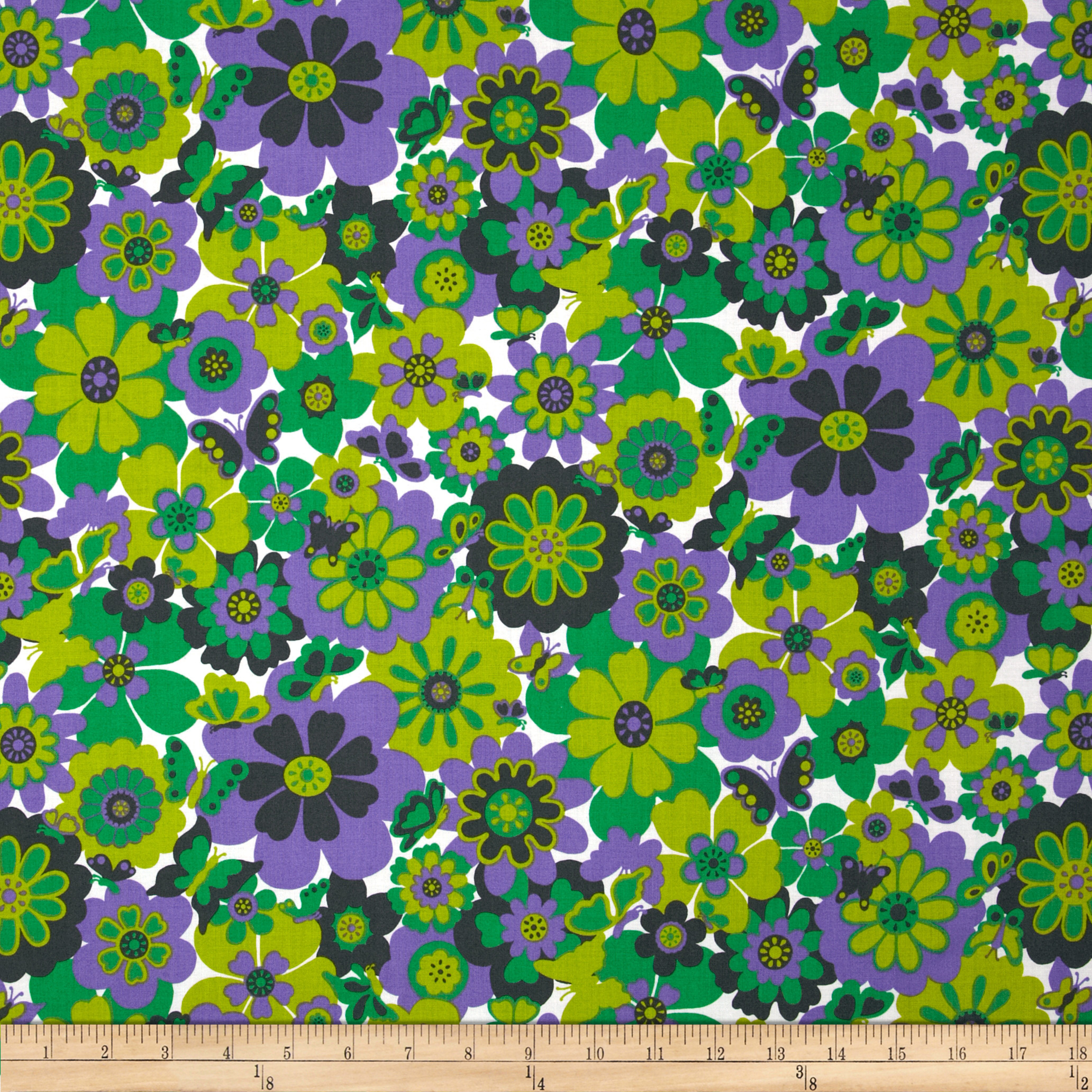 Let's Play Dolls All Over Flowers Purple Fabric