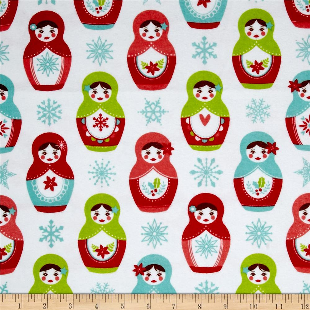 Riley Blake Merry Matryoska Flannel Dolls White