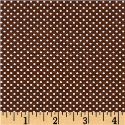 Rihan Jersey Knit Mini White Polka Dots on Brown