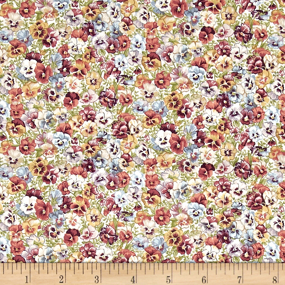 Antique Garden Pansies Multi Fabric by Andover & Makower in USA