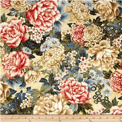 Oriental Traditions Metallic Flower Collage Crimson