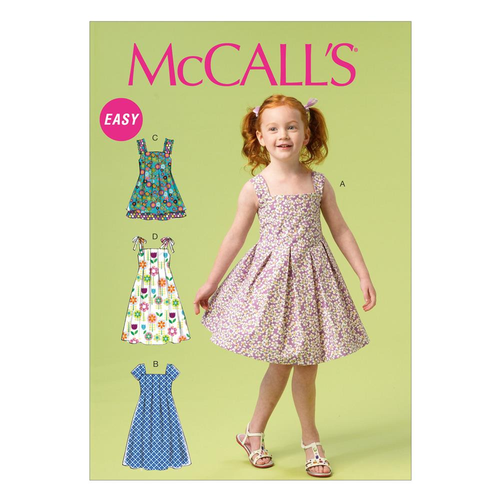 Mccall 39 s children 39 s girls 39 dresses and sash pattern m6878 for Childrens dress fabric