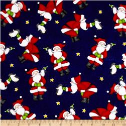 North Pole Greetings Flannel Allover Santas Navy