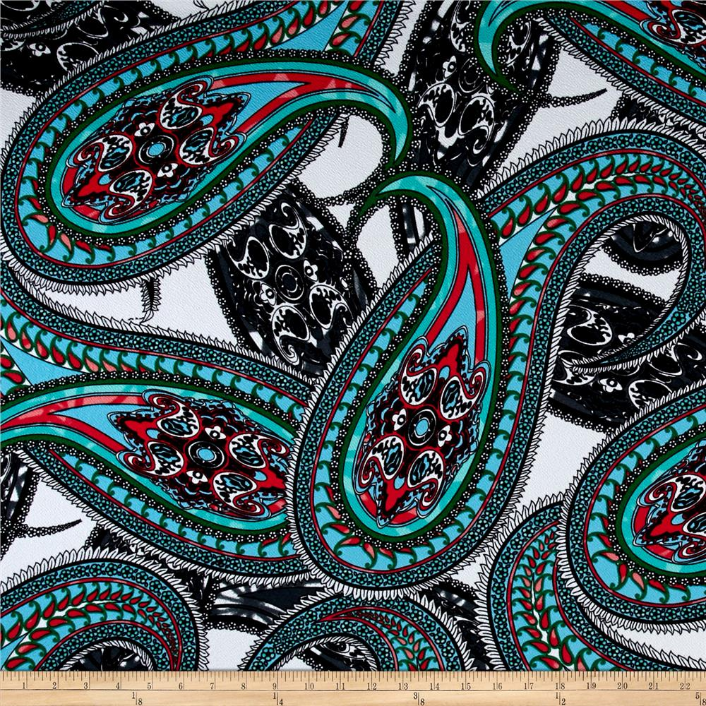 Liverpool Double Knit Paisley Blue/Pink/White/Green
