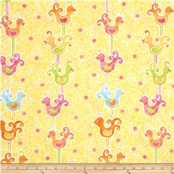 The Garden Club Bird Stripe Yellow Fabric