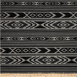 Sydney Stretch Crepe Knit Aztec Stripes Black/Cream Fabric