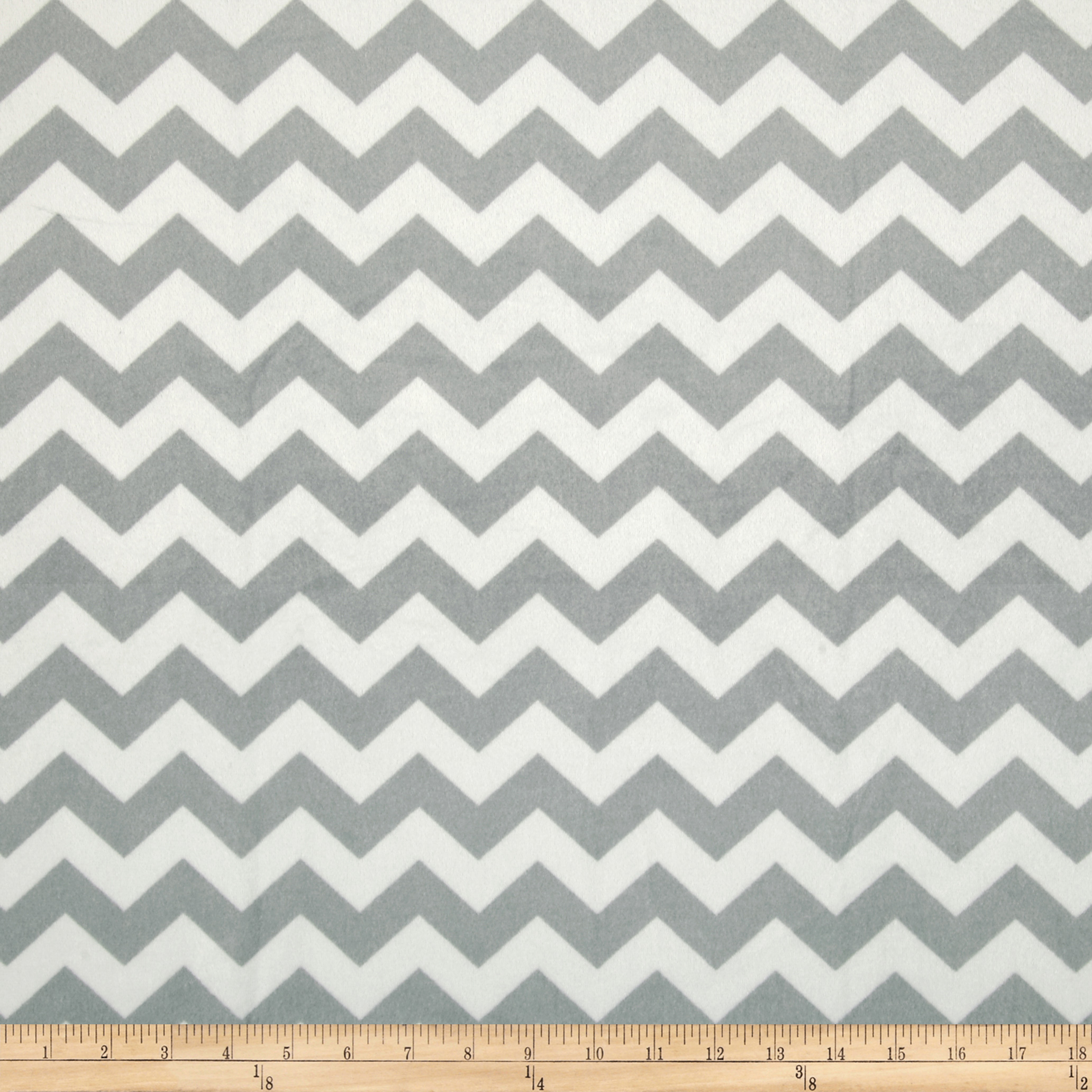 Riley Blake Dreamy Minky Medium Chevron Grey Fabric