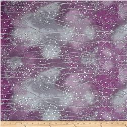 Kaufman Sugar Plum Metallic Branches Plum