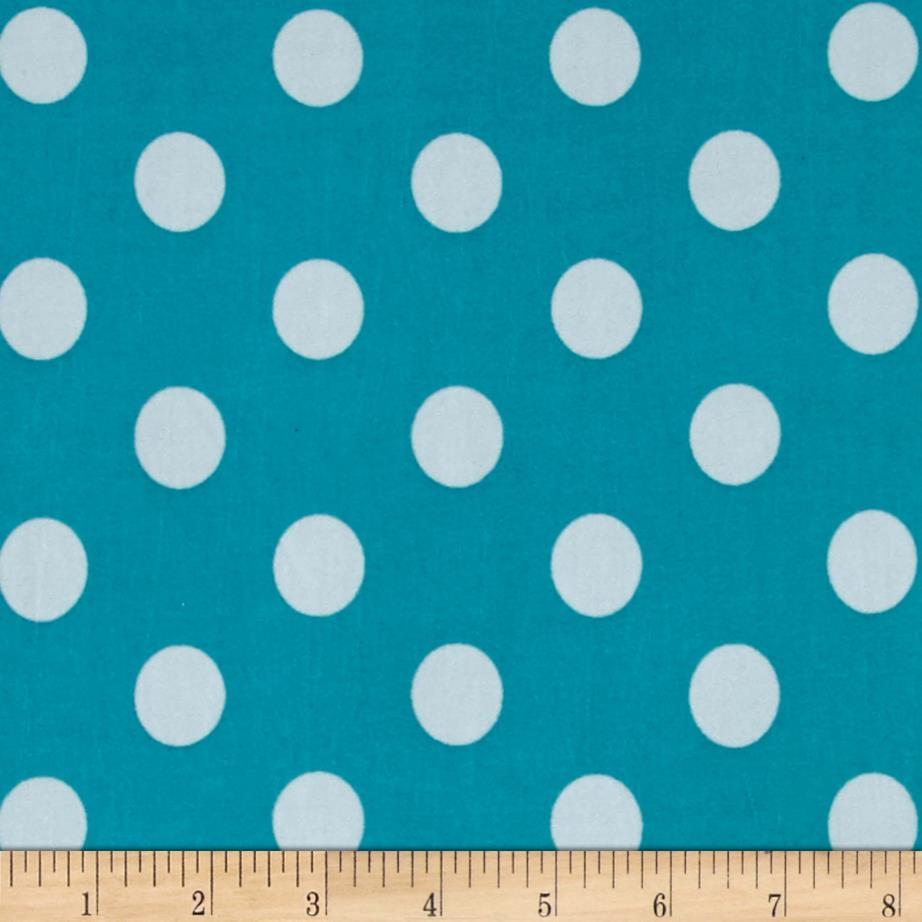 Stretch ITY Jersey Knit Dot Jade and White
