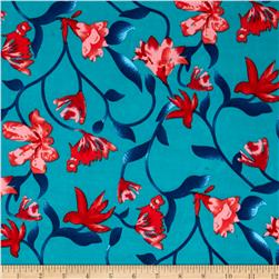 Stretch ITY Knit Patriotic Floral Teal Red
