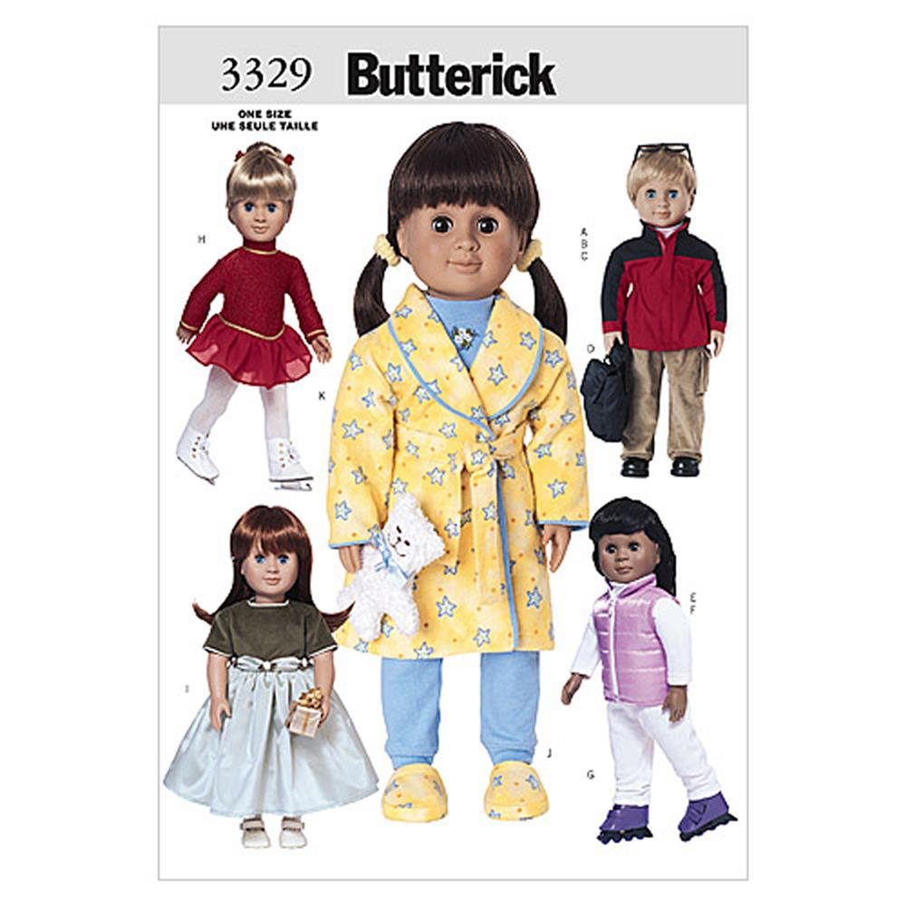 "Butterick 18"" (46cm) Doll Clothes Pattern B3329 Size OSZ"