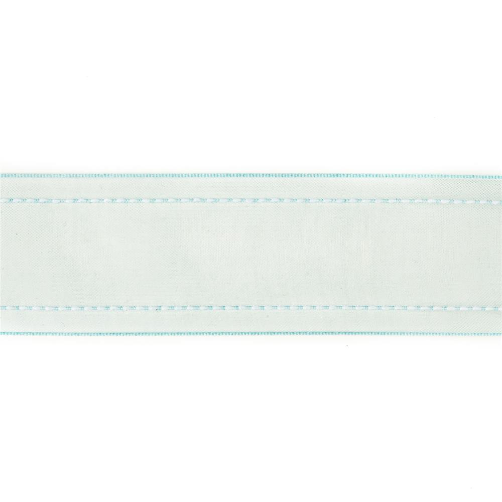 "1 1/2"" Sheer Stitched Edge Ribbon Light Blue"